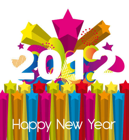 colorful 2012 new year over explosion stars Vector