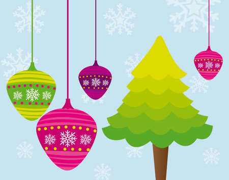 tree and christmas balls over blue background. vector Stock Vector - 11791750