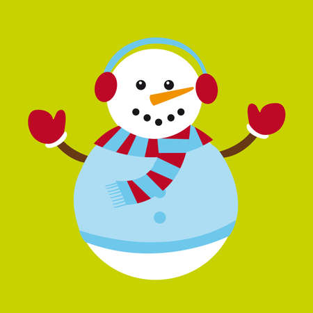 snowman isolated: cute snowman isolated over green background. vector Illustration