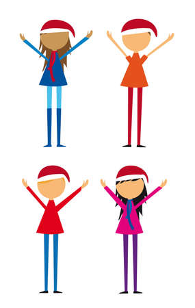 four childrens with hat christmas isolated over white background. vector Vector