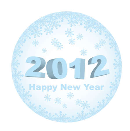 blue 2012 tag with snowflakes, happy new year. vector Stock Vector - 11102534