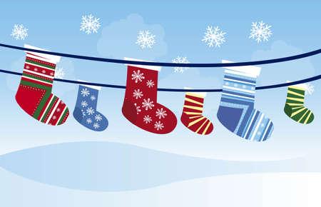white stockings: Christmas stockings over beautiful sky cartoon. vector Illustration