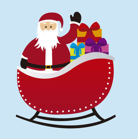 santa claus over sleigh with gifts isolated over blue background. vector Vector