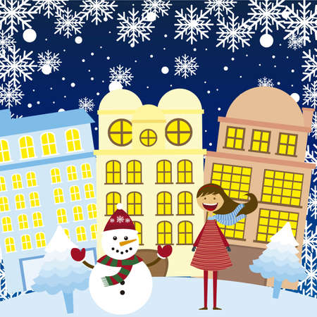 girl and snowman in the winter city, background. vector Vector