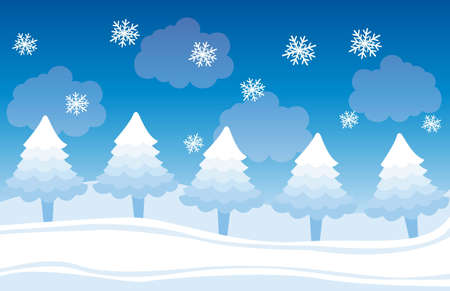cute winter landscape with trees and snowflakes, background. vector Vector