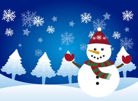winter scene: cute snowman over snowman, winter landscape. vector