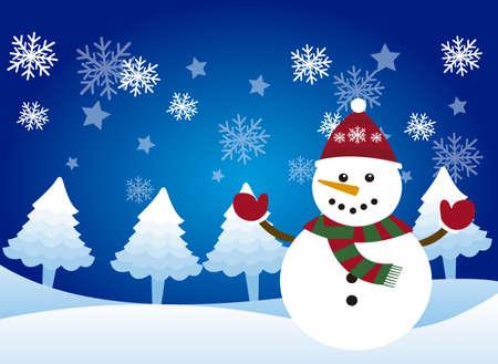 snow scene: cute snowman over snowman, winter landscape. vector