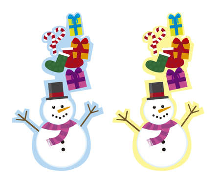 two cute snowman tags, isolated over white background. vector Stock Vector - 11102481