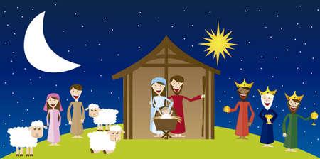 vierge marie: Vierge Marie, saint Joseph et J�sus avec les mages et les pasteurs sur le paysage. vecteur