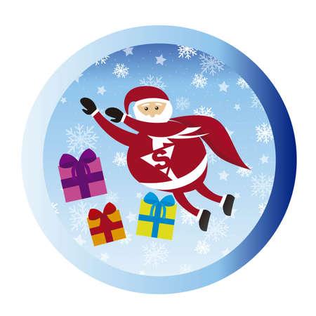 super santa claus with gifts, circle. vector Stock Vector - 11102542