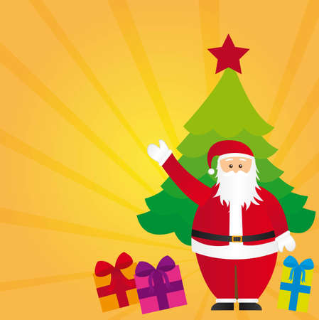 santa claus with tree and gifts, yellow background. vector Vector