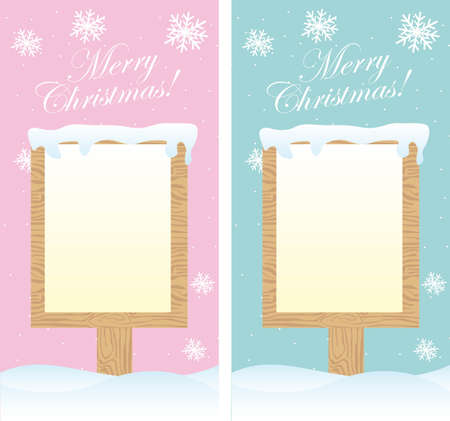 two cute blank signs christmas over snow. vector Vector