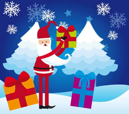 santa claus with gifts over snow landscape. vector Stock Vector - 11102518