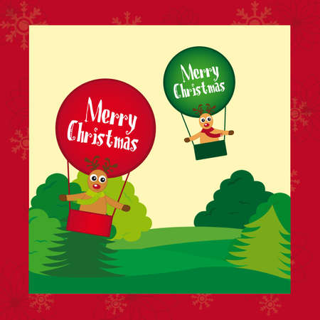 reindeers christmas on air balloons, card. vector Stock Vector - 11102544