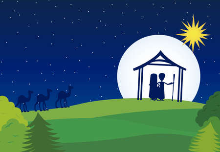 manger silhouette with camels over landscape background. vector Vector