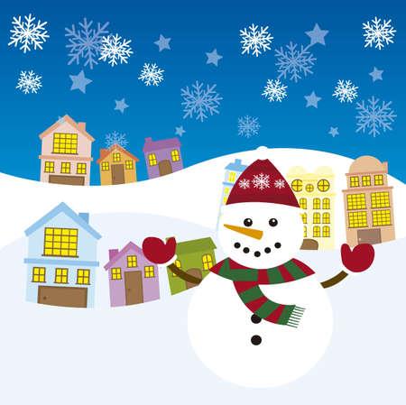 cute snowman over city winter landscape. vector Vector