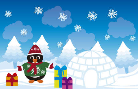 cartoon penguin christmas, winter landscape. vector Stock Vector - 11102506