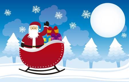 santa clause hat: santa claus over sleigh, over winter landscape. vector