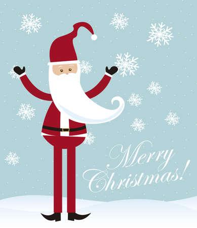 cartoon santa claus over snow over blue background. vector Stock Vector - 11102522