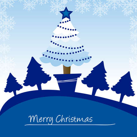 blue trees christmas card, christmas. vector Vector