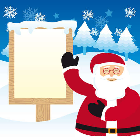 santa claus with blank sign christmas over snow. vector Vector