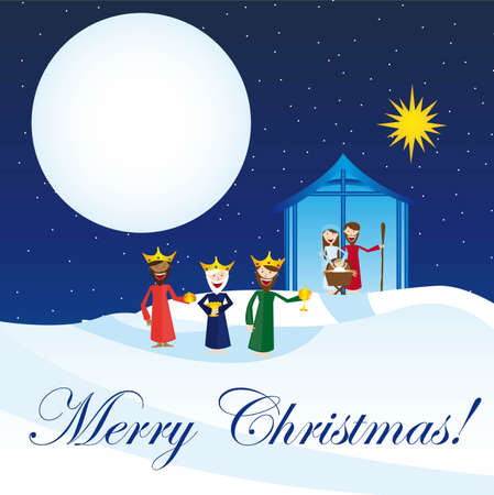 cute manger with magi over snow, card. vector Stock Vector - 11102514