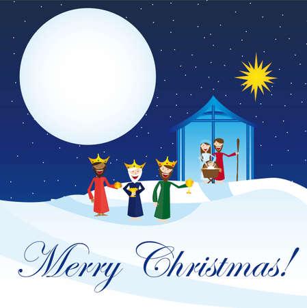 magi: cute manger with magi over snow, card. vector