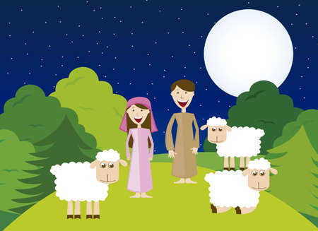 Shepherds with sheeps over night landscape. vector Vector