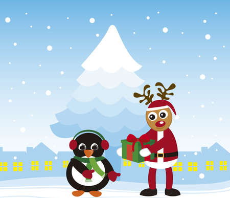 penguin and reindeer christmas over winter city. vector Vector