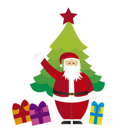 cute santa claus with tree and gifts isolated. vector Vector