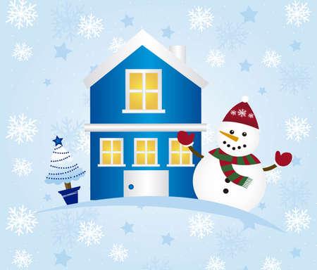 cute card christmas with snowman, christmas. vector Stock Vector - 11102539