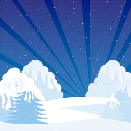 cartoon winter shrubbery with snow, night landscape. vector Stock Vector - 11102509
