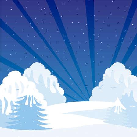 cartoon winter shrubbery with snow, night landscape. vector Vector