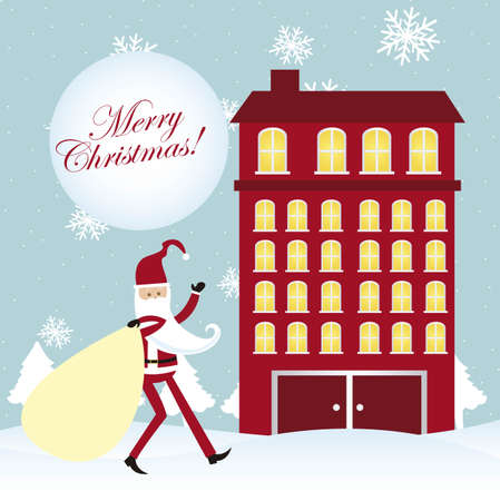 santa claus walking over snow, building. vector Stock Vector - 11102524