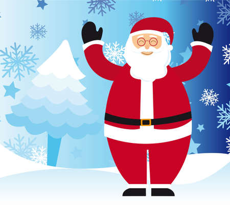 santa claus over winter landscape, christmas. vector Stock Vector - 11102540