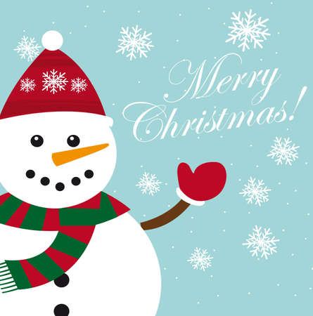 cute snowman card with snowflakes, christmas. vector Vector