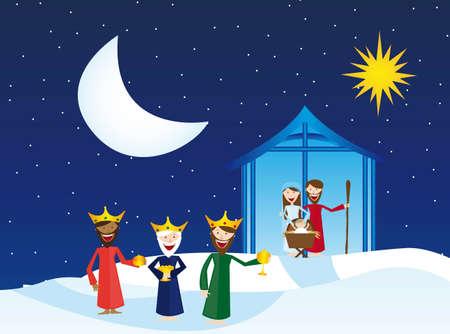 rois mages: cr�che avec les mages sur la neige, paysage d'hiver. vecteur Illustration