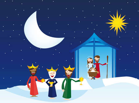 christmas religious: manger with magi over snow, winter landscape. vector