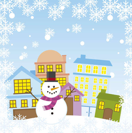 snowan in the city with snowflakes, christmas. vector Vector