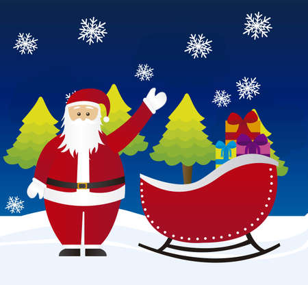 flying hat: santa claus on sleigh over night witn landscape. vector Illustration