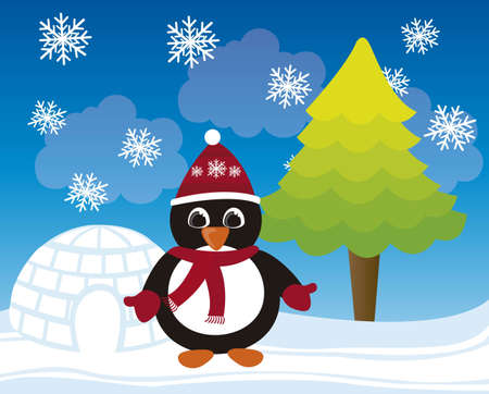 cartoon penguin christmas, winter landscape. vector  Vector