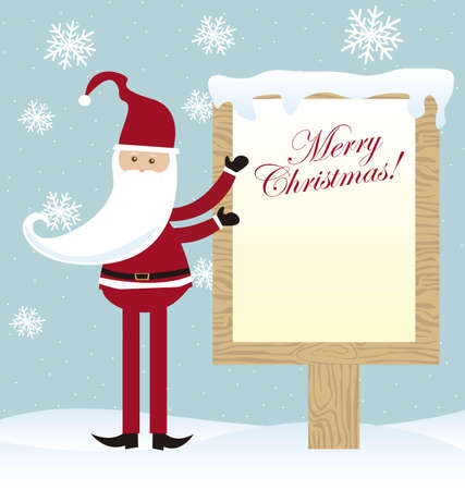 cute santa claus with blank sign christmas over snow. vector Vector