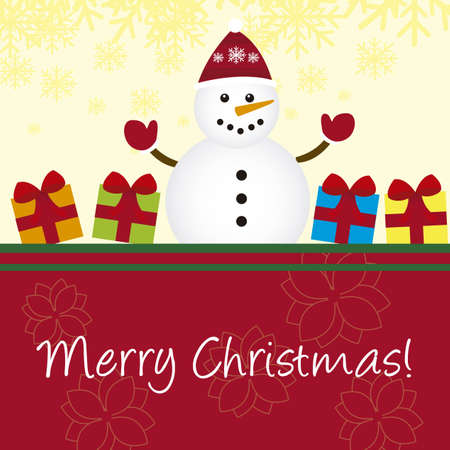 cute snowman with gifts card, christmas. vector Stock Vector - 11102537