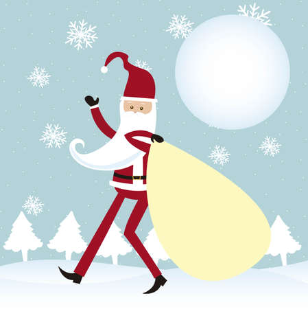 cartoon santa claus walking over snow with bag. vector Stock Vector - 11102519