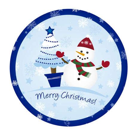 snowman and tree christmas , circle christmas. vector Stock Vector - 11102543