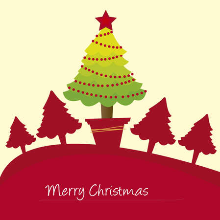 red trees christmas card, christmas. vector Vector