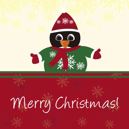 penguin with hata christmas  card. vector Vector