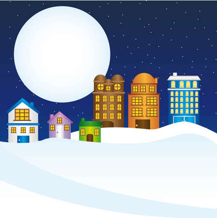 folk village: buildings and houises, night city christmas. vector
