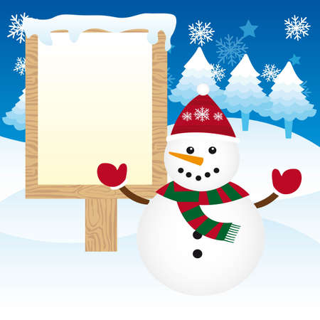 cute snowman with wooden sign over snow. vector Stock Vector - 11102533