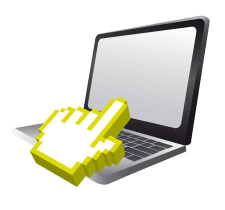 touchpad: laptor with 3d cursor hand pointing isolated. vector